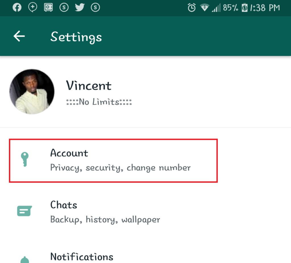 How to activate WhatsApp Fingerprint Lock on Android, Step 3