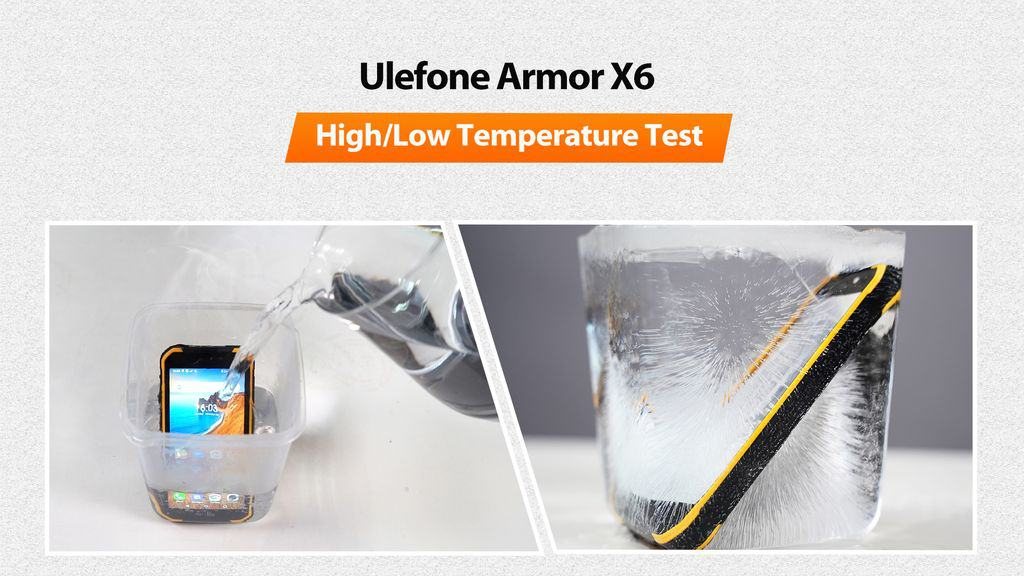 Ulefone Armor X6 rugged phone survives a 98°C hot water test and a -20°C fridge test