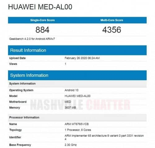 Huawei phone with Helio P35 and 4GB RAM surface on Geekbench