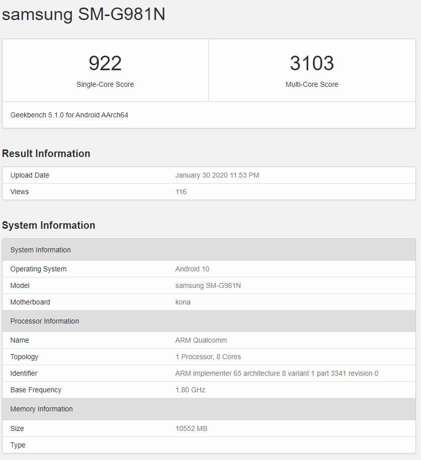 Samsung Galaxy S20 (Korean version) Geekbench listing
