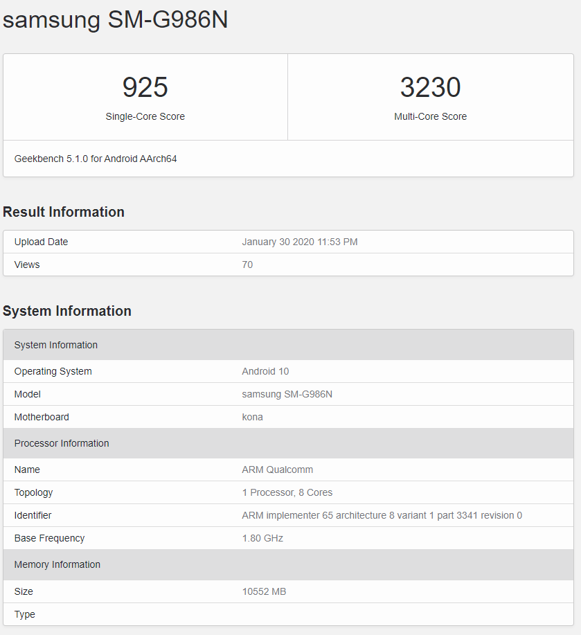 Samsung Galaxy S20+ (Korean version) Geekbench listing