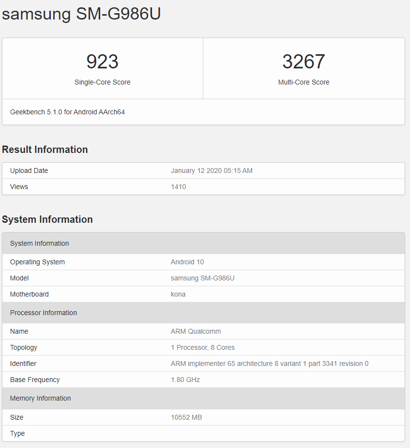 Samsung Galaxy S20+ (US version) Geekbench listing