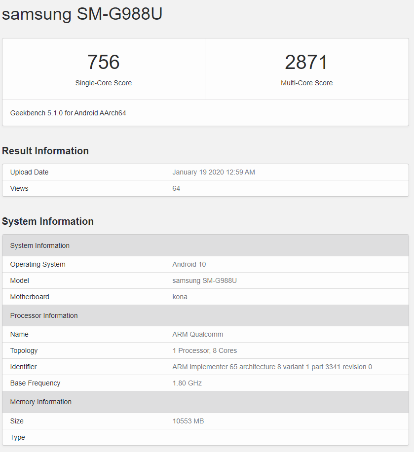Samsung Galaxy S20 Ultra (US version) Geekbench listing