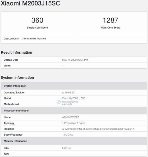Xiaomi Redmi 10X with 6GB RAM and Helio G70 Chip appears on Geekbench