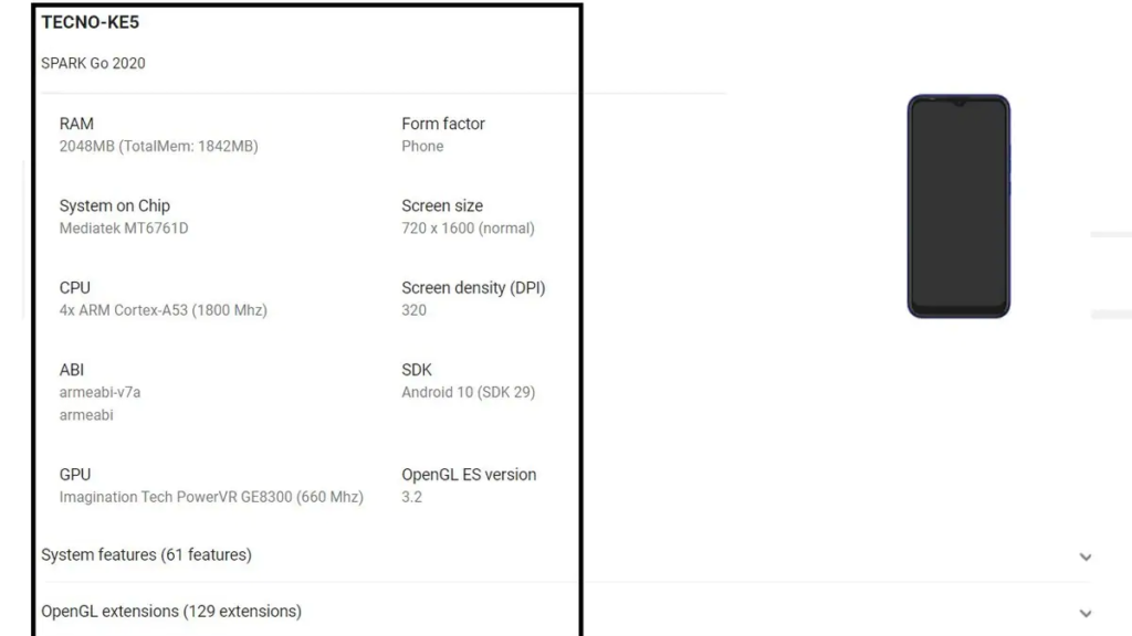 Tecno Spark Go 2020 spotted on Google Play Console listing